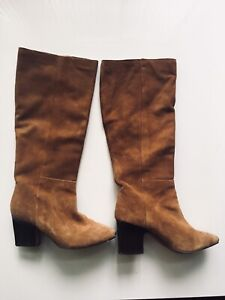 100% brown suede leather boots