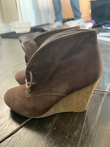 Brown Wedge Boots (Size 6)
