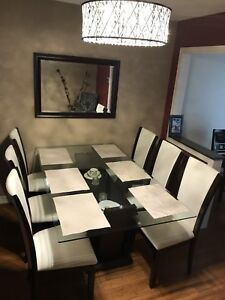 6 Chair Glass Dining Table Set