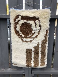 Rug Hooking Wall Hanging Mid Century Wool Decor Design MCM