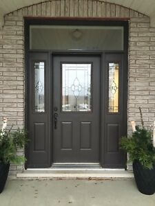 Door with sidelights and transom