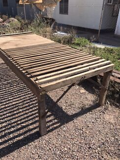 Vintage wooden wool table aprox 9 ft long