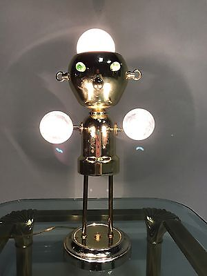 VINTAGE ROBOT ATOMIC UFO LIGHT LAMP SPUTNIK EYEBALL TORINO BRASS MID CENTURY MOD