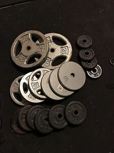 """150 Lbs of Solid Steel Weight Plates with 1"""" hole"""