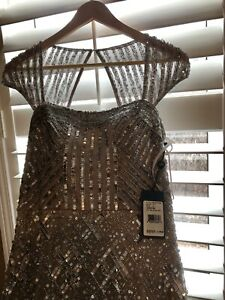 Adrianna Papell beaded gown, new with tags, size 4, silver