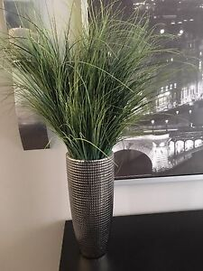 2 Vases with fake tall grass  $40 for the pair