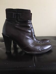 Hugo Boss brown leather boots