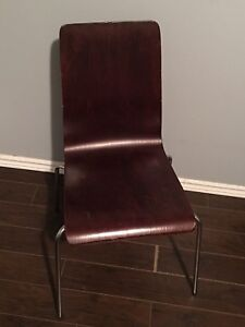 Wooden chair with metal frame