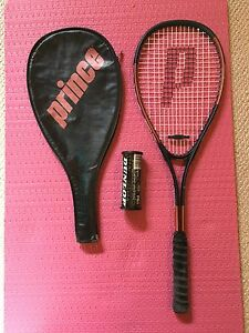 Squash racket, cover and balls