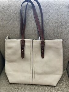 LIKE NEW!     CREAM & COGNAC FAUX LEATHER  BAG