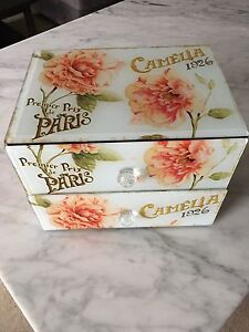 HOMESENSE PARIS FLORAL GLASS BOX-NEW!