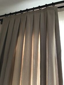 4 custom made curtain panels and rod