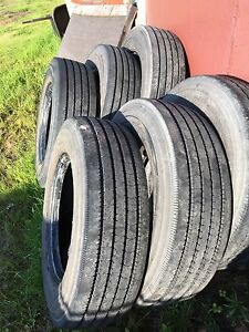 6 Bridgestone 245/70 R19.5 tires for sale