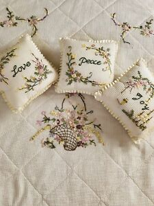 One of a kind : Hand stitched Silk Ribbon coverlet & pillows