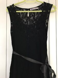 Lace tank dress with slip and ribbon tie