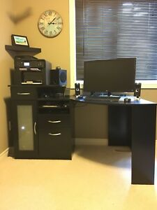 Black Corner Office Desk and Leather Chair