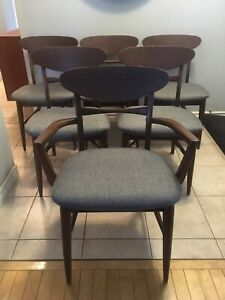 Mid century modern walnut dining chairs - newly upholstered