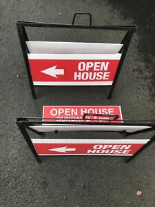 Two metal sign holders comes with open house signs