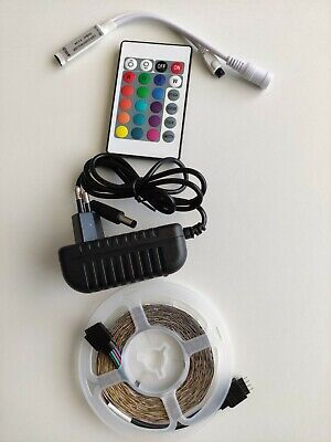 Set Tira deLuces completo LED RGB 5M, adaptador 12V 24 key IR...
