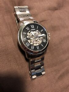 Fossil mechanical watch, see through skeleton, silver