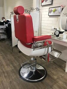 Brand new in box red barber chairs with hydraulic lift & recliner back