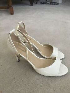 White classic ankle strap  pump