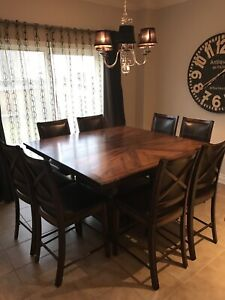 Wood kitchen table + 8 matching chairs