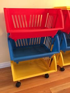 Toy or Craft organizer tower (1 tower) - fun colors, on wheels