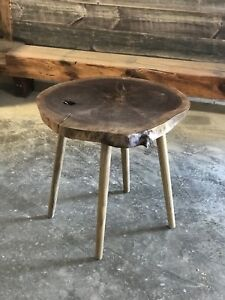 Live Edge Round Side Table