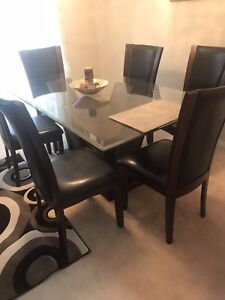BRAND NEW 6 CHAIRS LEATHER AND WOOD DINING TABLE SET