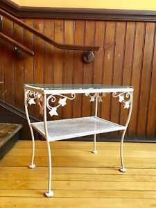 Vintage metal and glass outdoor table