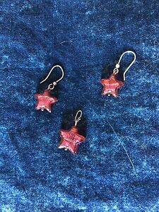 Burgundy star set earrings and charm