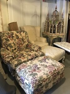 Shabby chic chair and ottoman