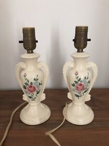 "Pair of 10.5"" Vintage Trophy-Shape Ceramic Lamps"