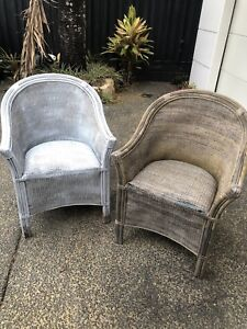 95a5319ddf0e CANE WICKER CHAIRS SET OF TWO OUTDOOR FURNITURE SEATS