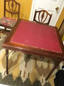 Vintage 1930's Folding Card Table and Chair