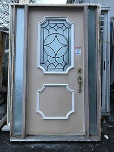 Exterior steel door with two sidelights