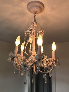 Pale pink chandelier kids light fixture
