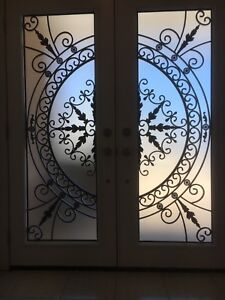 Decorative Door Glass inserts,wrought iron stain glass