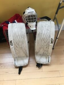Junior hockey goalie equipment -pads, stick and mask