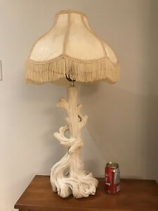 UNIQUE VINTAGE PLASTER FAUX TREE TRUNK LAMP