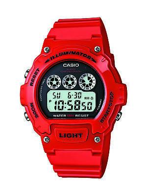 Casio Digital Illuminator Watch - Casio Mens Quartz Illuminator Black Digital Dial Red Resin 45mm Watch W214HC-4AV