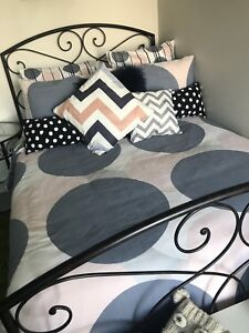 Double cast iron bed set