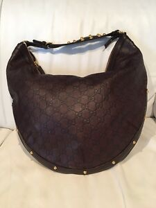 Authentic Gucci leather hobo bag , guccissima brown with studs