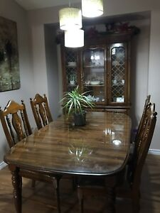 0d674e74fe99 Dining Table with 4 Chairs And Two piece China Cabinet