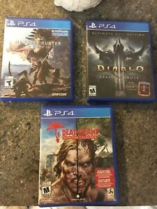 Monster Hunter world, Diablo 3, Dead Island Definitive Edition