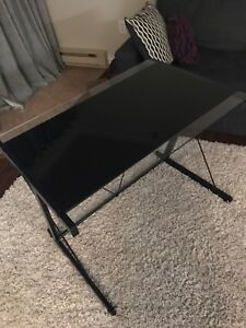 Black glass top desk