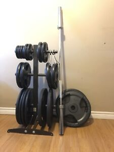 Olympic weights, bar and rack