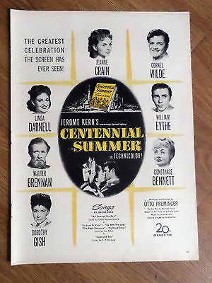 1946 Movie Ad Centennial Summer Linda Darnell Jeanne Crain Cornel Wilde Gish