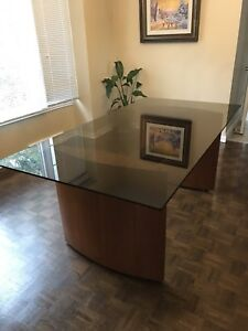 Dinning room table teak and glass